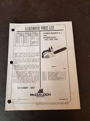 McCulloch Eager Beaver 2.1 And Power Mac 310,320,330 Illustrated Parts List 1987