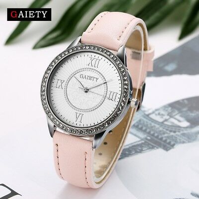 Elegant Fashion Casual Women Quartz Analog Wrist Watch Crystal Leather Watches