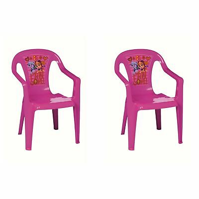 Set Of 2 Paw Patrol Pink Kids Plastic Garden Picnic Chairs