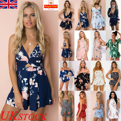 UK Womens Holiday Mini Playsuit Jumpsuit Romper Ladies Summer Tops Beach Dress