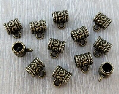 Bronze Barrel Bail Beads with Loop 20/50pc DIY Necklace Supplies - BL105