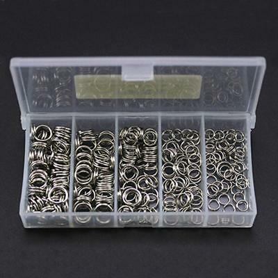 250pcs Stainless Steel Fishing Split Rings Double Loop Connectors Tackle 5 Sizes