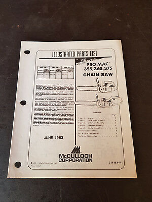 McCulloch Pro Mac 355,365,375 Chainsaw Illustrated Parts List 1983