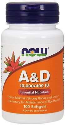 A & D 10,000/400 IU x 100 Softgels NOW Foods - 24HR DISPATCH