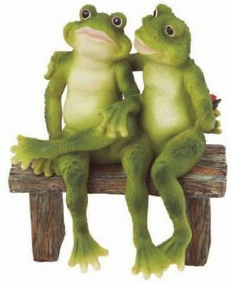 Garden Decoration Collectible Figurine Statue Model Frogs On Bench Home Decor