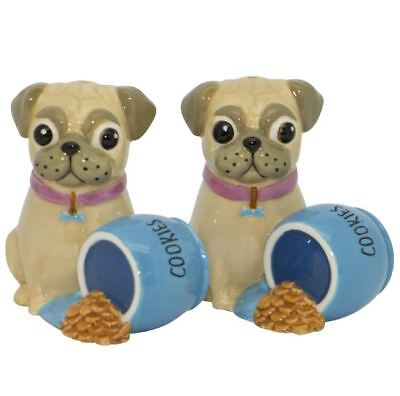 French Country Collectable Novelty Pug with Cookies Salt and Pepper Set New
