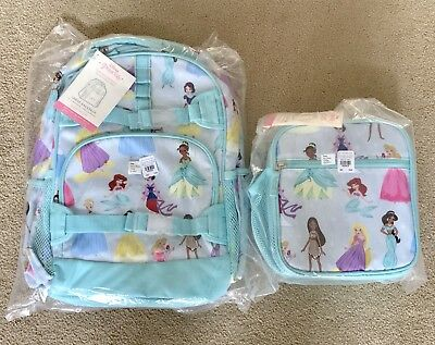 Nwt In Bag Pottery Barn Kids Disney Princess Large Backpack And Classic Lunch