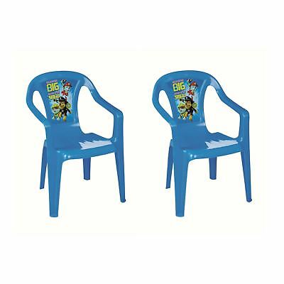 Paw Patrol Set Of 2 Blue Kids Plastic Garden Picnic Chairs