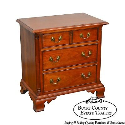 Stickley Solid Cherry Chippendale Style Chest Nightstand
