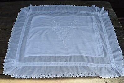 Vintage Antique Pair Victorian Euro Sheer Cotton Pillow Shams Embroidery Eyelet