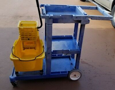 Commercial Housekeeping Janitorial cart with Mop Bucket and Wringer