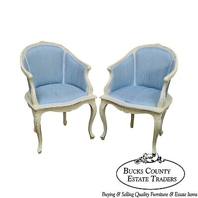 French Louis XV Style Custom White Painted Blue Upholstered Pair Bergere Chairs
