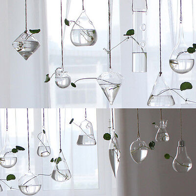 Clear Flower Hanging Vase Planter Terrarium Container Glass Home Party Decor x1
