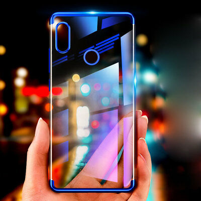 For Xiaomi Mi 8/ 8SE Plating Bumper Clear Crystal Shockproof Silicone Cover Skin