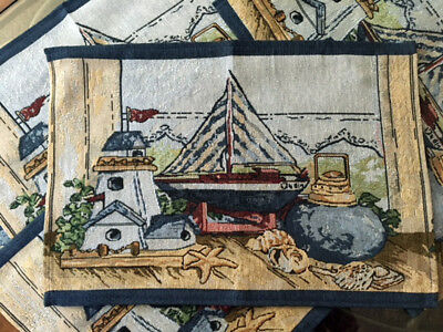 Ordinaire 5 PC Boat U0026 Lighthouse Decor Tapestry Table Runner Placemat Set Nautical  Coastal