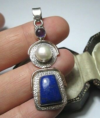 Beautiful Vintage Style Sterling SILVER & Rose Gold Pearl Lapis Amethyst PENDANT