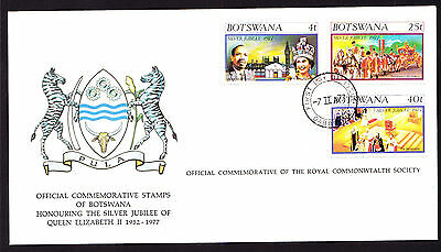 Botswana stamps on Coat of Arms cachet QE2 QEII cover 1977 Silver Jubilee FDC