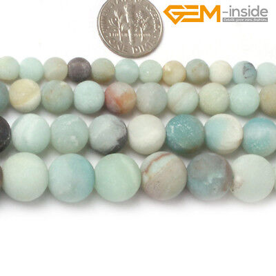"""Natural Round Matte Multi Color Amazonite Stone Beads For Jewellery Making 15""""CA"""