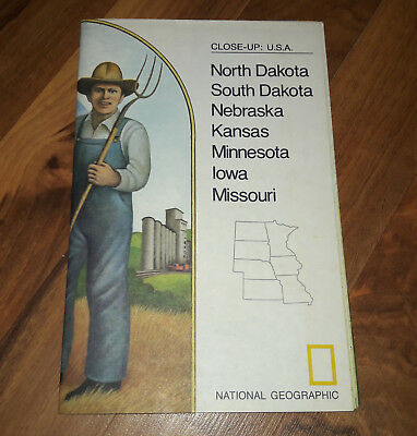 VINTAGE 1974 National Geographic Map ND SD NE KS MN IA MO Close-up USA Booklet G