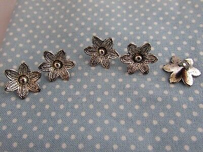 Silver Tibetan 16.5mm Flower Buttons with Raised Petals in Packs of 2, 5 or 10