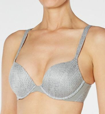 034863f670 SPANX PILLOW CUP SF0515 Push Up Plunge Bra 34D Gray Python Print New ...