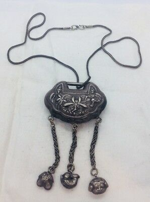 Chinese Antique Sterling Silver Ornate Double Sided Pendant Necklace