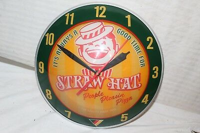 "Vintage Straw Hat Pizza Restaurant 15"" Lighted Double Bubble Clock Gas Oil Sign"