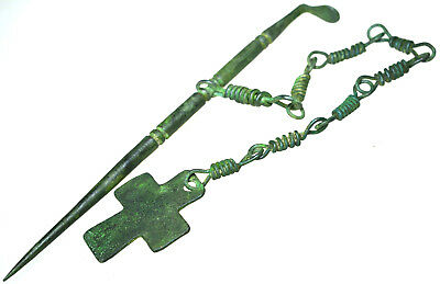 Byzantine Bronze Hair Pin with Cross and Chain