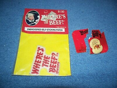 1984 Wendy's Wheres the Beef Embroidered Patch & Pin