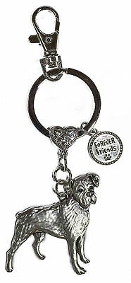 Dog Lovers Forever Friends Zinc Key Chain w/ Clip -Boxer