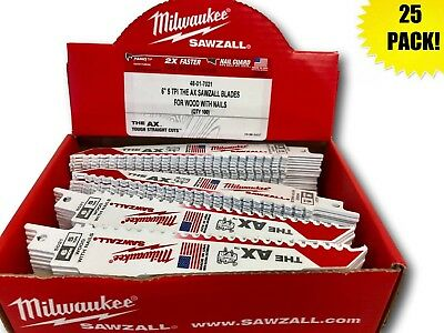 (25 PACK) Milwaukee 48-01-7021 6 in. 5 TPI The AX Sawzall Blade IN STOCK