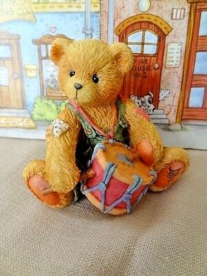 """Cherished Teddies Numbered 1994 Ronnie """"I'll Play My Drum for You"""" Bear w/Drum"""
