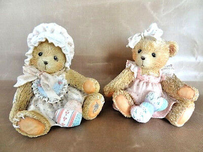 Cherished Teddies Set - 2 Girls w/Quilted Hearts; Kelly '93 & Amy '92, Numbered
