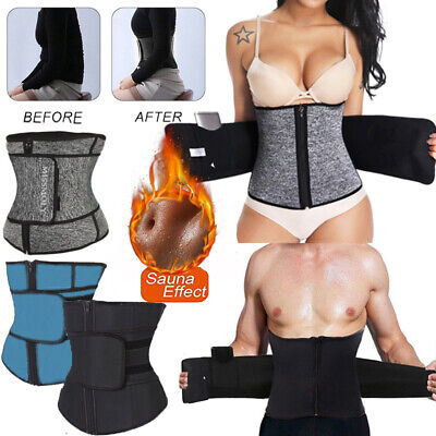 Women Men Fajas Sweat Body Shaper Waist Trainer Cincher Corset Belt Shapewear US