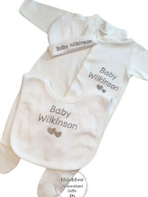 Personalised Baby Sleepsuit / Baby Grow / Vest / Hat Newborn Gift - Add Any Name