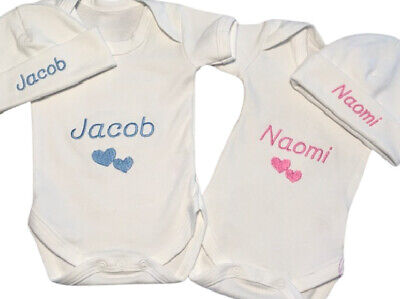Personalised Vest / Hat Set - Boy/Girl Gift - Newborn Gift - Add Any Name