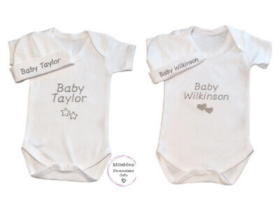 Personalised Baby Grow/ Vest / Hat Baby Keepsake Gift Set Unisex  - Add Any Name