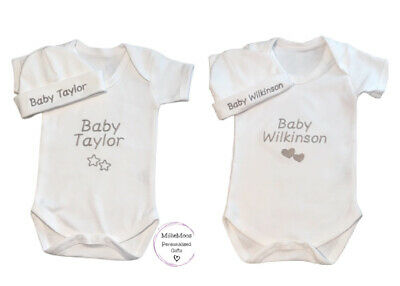 Personalised Baby Grow / Vest / Hat Newborn Gift Set Unisex  - Add Any Name