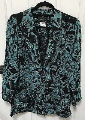 CAROLE LITTLE Vintage Jacket Oversize 100% Rayon French Fabric Floral Size 6