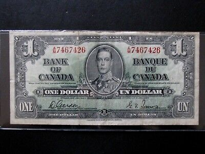 1937 Bank Of Canada One 1 Dollar Bank Note Am 7467426