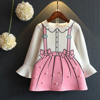 Toddler kids baby girls long sleeve cotton dress party wedding princess dress