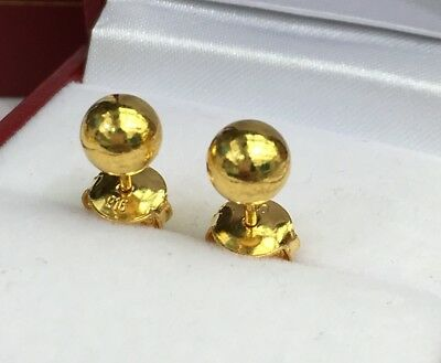 24k Solid Pure Gold Shiny Plain 6mm Ball Stud Earrings 2 48 Grams