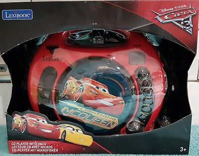 BRAND NEW Lexibook Disney Cars CD Player with Microphones