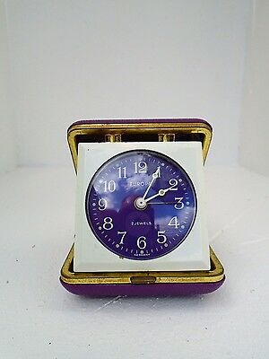 Vintage Purple Europa Alarm Clock, 2 Jewels, Made In Germany