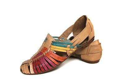 a38b219e6233 Women s HUARACHES SANDALS MULTI COLOR Flats CLOSED TOE Mexican Sandals  Vintage