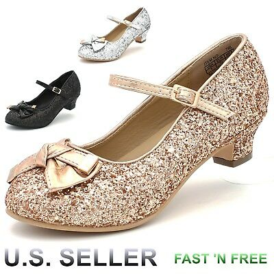 Girls Glitter Sparkling Dress Shoes Low Medium Heel Pumps Bow Mary Jane Pageant