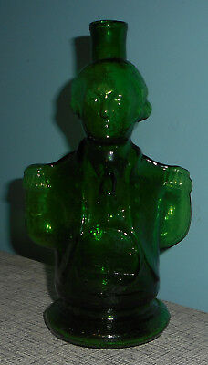 George Washington Figural Glass Decanter Green Simon Centennial Bitter REPLICA