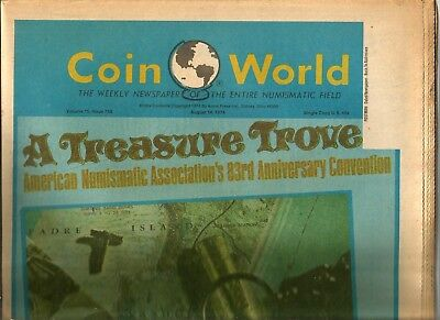 """Coin World Newspaper August 14, 1974 - 176 Pages """"most Pages Coin World"""""""