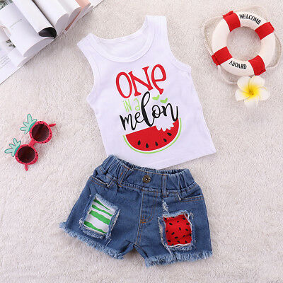 2PCS Toddler Kid Baby Girls Clothes Outfits T-shirt Tops +Denim Jeans Shorts USA