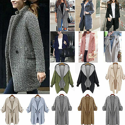 Plus Size Women Winter Warm Wool PEA Jacket Trench Coat Parka Overcoat Outwear